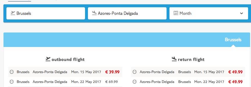 Retour Brussels - Azoren voor € 90,--